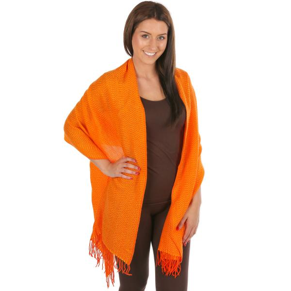 wholesale C Shawls - Herringbone 1004 Orange Shawls- Herringbone 1004 -
