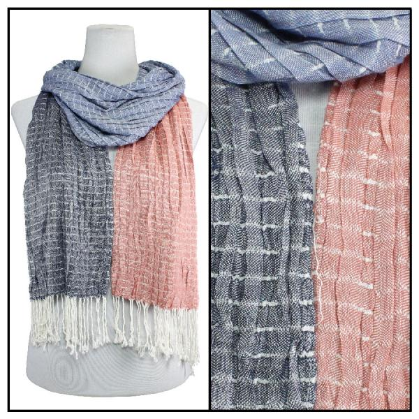 wholesale Oblong Scarves - Patchwork Crinkle 1029* Blue-Coral -