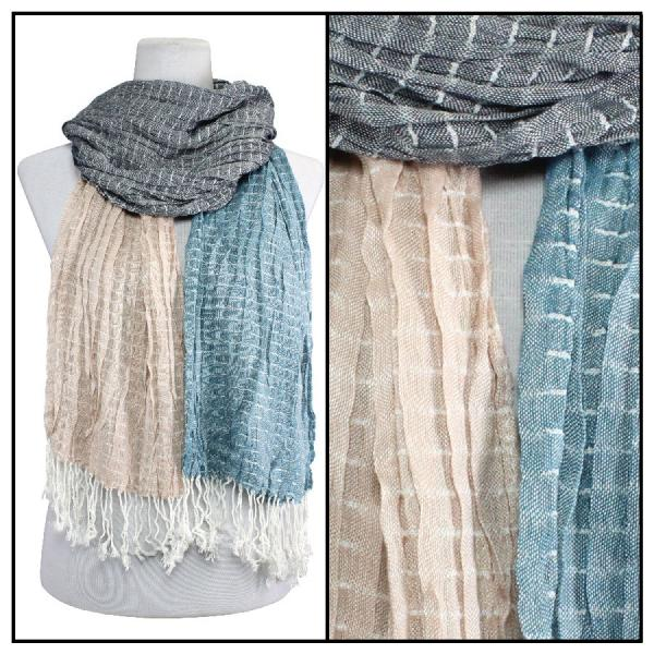 wholesale Oblong Scarves - Patchwork Crinkle 1029* Blue-Beige -