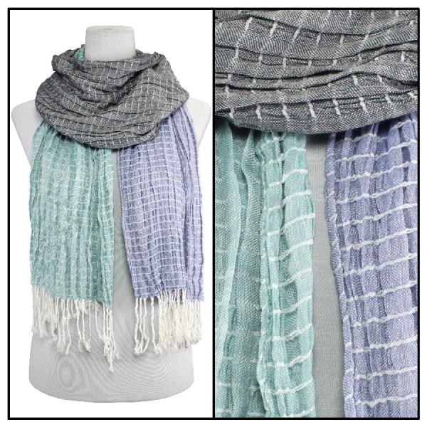 wholesale Oblong Scarves - Patchwork Crinkle 1029* Teal-Purple -