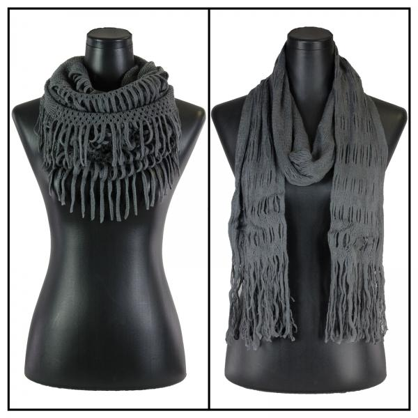 Wholesale C Oblong Scarves - Long Two Way Knit Tube* Grey Oblong Scarves - Long Two Way Knit Tube* -