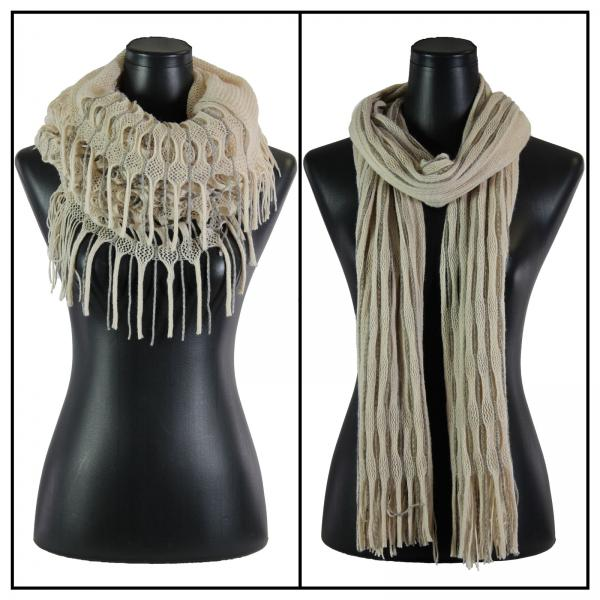 Wholesale C Oblong Scarves - Long Two Way Knit Tube* Beige-Grey Striped Oblong Scarves - Long Two Way Knit Tube* -