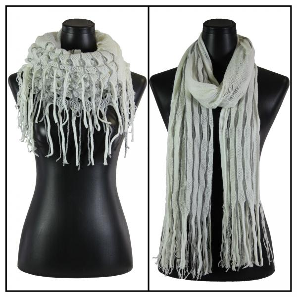 Wholesale C Oblong Scarves - Long Two Way Knit Tube* Ivory-Grey Striped Oblong Scarves - Long Two Way Knit Tube* -