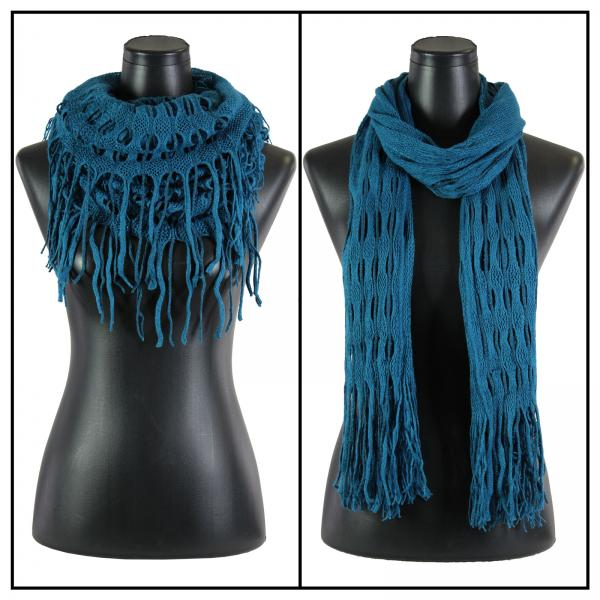 Wholesale C Oblong Scarves - Long Two Way Knit Tube* Teal Blue Oblong Scarves - Long Two Way Knit Tube* -
