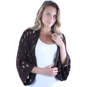 wholesale Scarf/Shrug - Oval Mesh Brown -