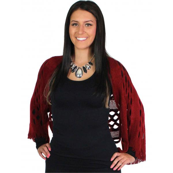 wholesale Scarf/Shrug - Oval Mesh Burgundy w/ Mesh -