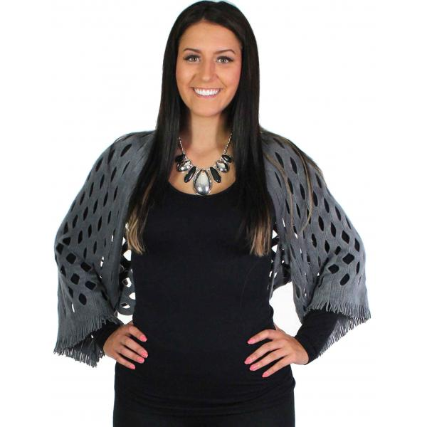 wholesale Scarf/Shrug - Oval Mesh Grey -