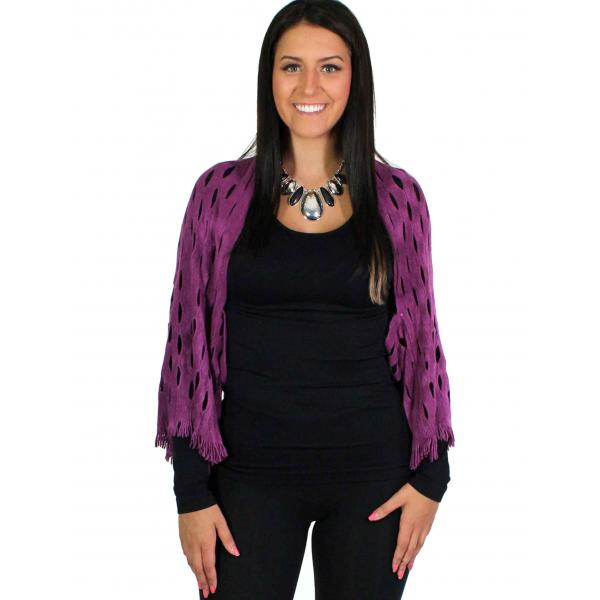wholesale Scarf/Shrug - Oval Mesh Purple w/ Mesh -