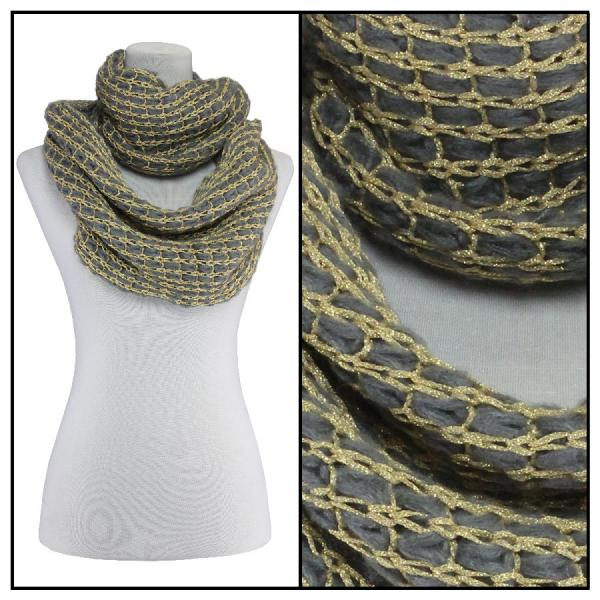Infinity Scarves - Metallic Thread 164* Grey -