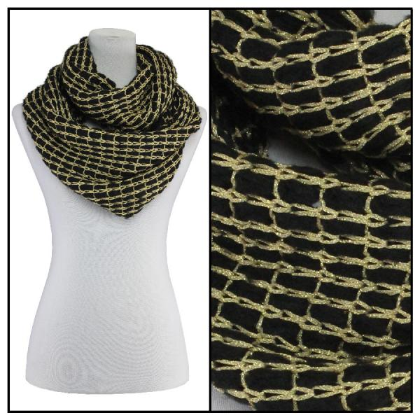 Infinity Scarves - Metallic Thread 164* Black -