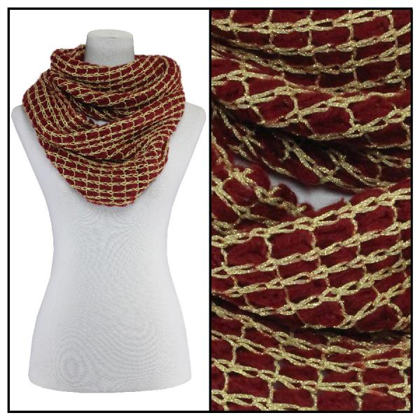 Infinity Scarves - Metallic Thread 164* Burgundy -