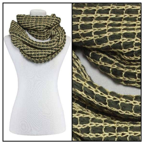 Infinity Scarves - Metallic Thread 164* Olive -