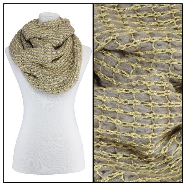 Infinity Scarves - Metallic Thread 164* Tan -
