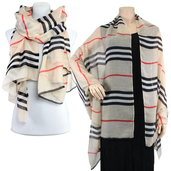 Big Scarves/Shawls - Striped 1169* Beige -