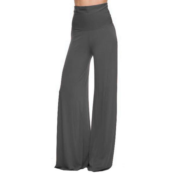 wholesale Palazzo Pants Solid Charcoal MB - M