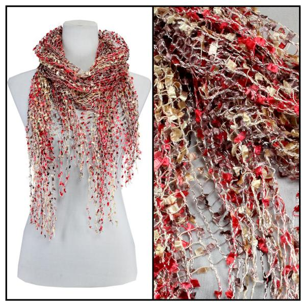 wholesale Oblong Scarves - Confetti 26791 Red-Brown-Gold -