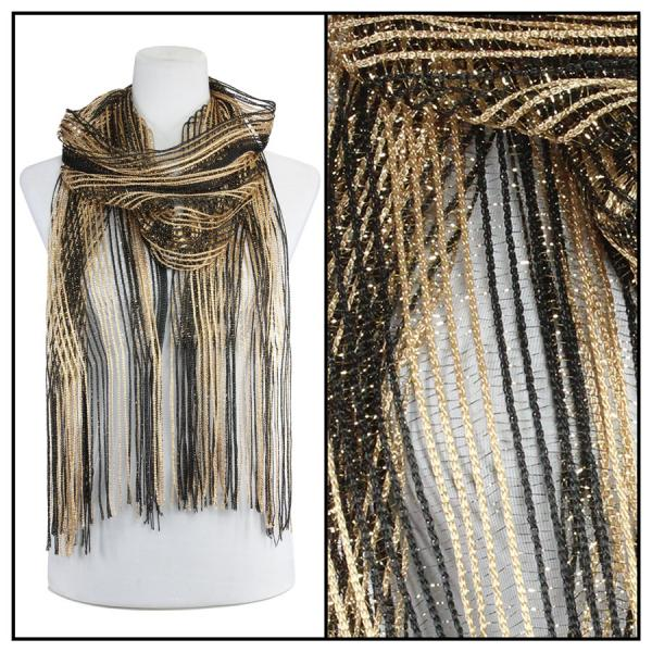 wholesale Oblong Scarves - Metallic Two Tone 249x001 Black-Gold -