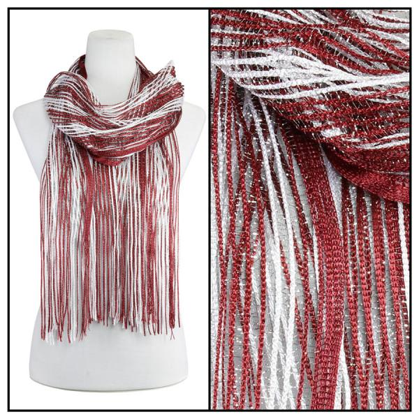 wholesale Oblong Scarves - Metallic Two Tone 249x001 Red-Silver -