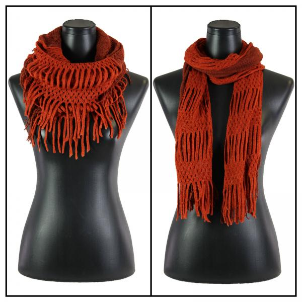 wholesale C Oblong Scarves - Two Way Knit Tube* Orange-Paprika -