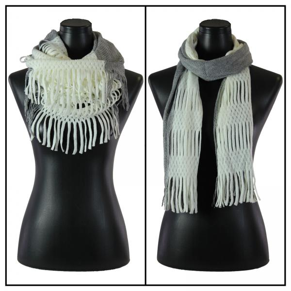 wholesale C Oblong Scarves - Two Way Knit Tube* Ivory-Grey -