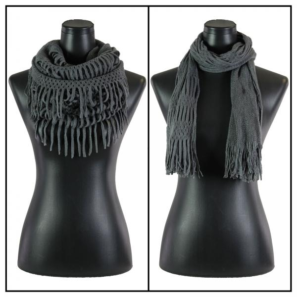 wholesale C Oblong Scarves - Two Way Knit Tube* Charcoal -