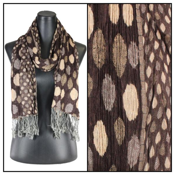 wholesale Oblong Scarves - Circles & Soft Pleats 1001 Brown -