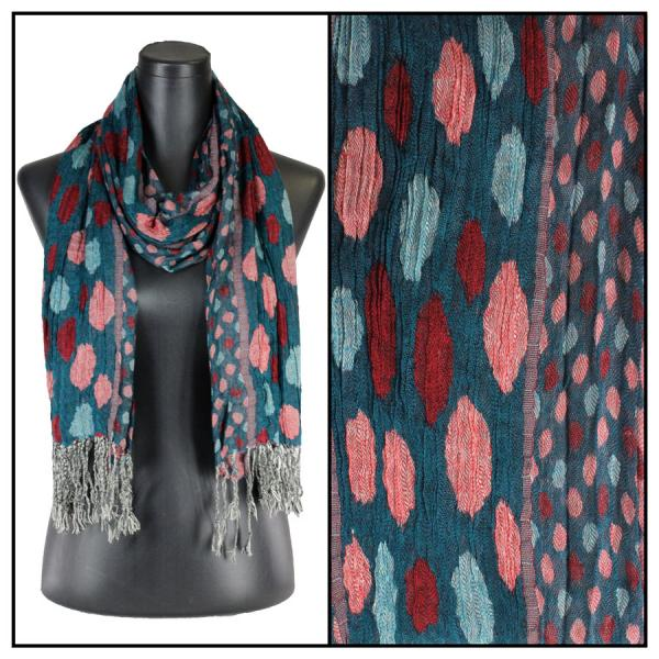 wholesale Oblong Scarves - Circles & Soft Pleats 1001 Teal -