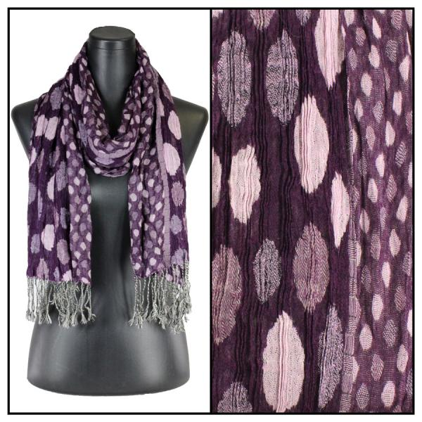 wholesale Oblong Scarves - Circles & Soft Pleats 1001 Purple -