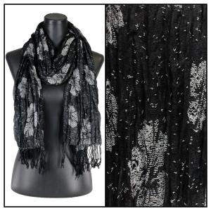 wholesale Oblong Scarves - Flower Border & Soft Pleats 1049 Black -