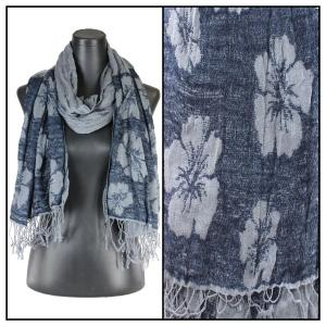 wholesale Oblong Scarves - Flower Border & Soft Pleats 1049 Grey-Dark Blue -