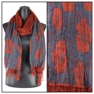 wholesale Oblong Scarves - Flower Border & Soft Pleats 1049 Blue-Paprika -