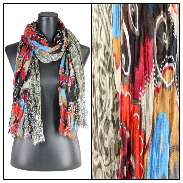 wholesale Oblong Scarves - Abstract Bohemian 1094 Multi Color 1 -