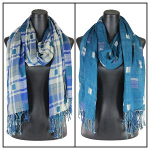 Wholesale  Blue Oblong Scarf - Long Plaid Reversible 1111* -