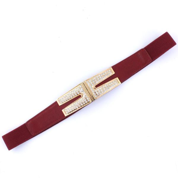 wholesale Fashion Stretch Belts S0101 - Burgundy - ONE SIZE FITS (S-L)