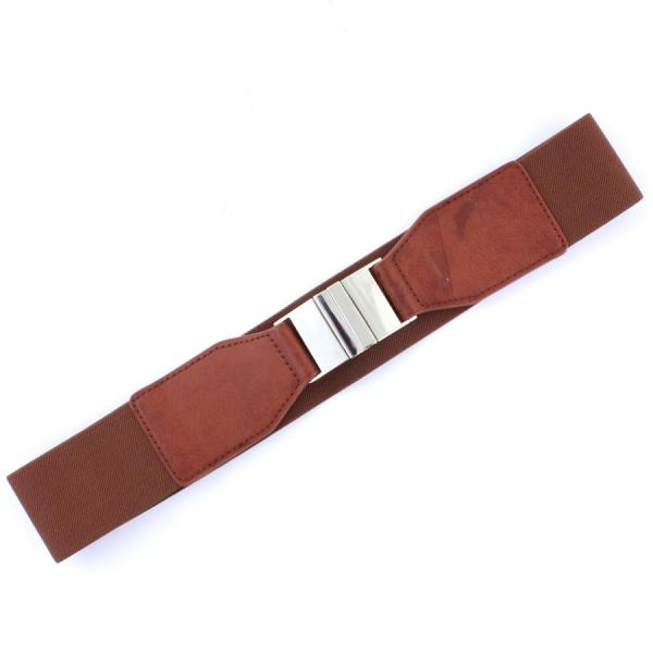 wholesale Fashion Stretch Belts Y5116 - Brown - ONE SIZE FITS (S-L)