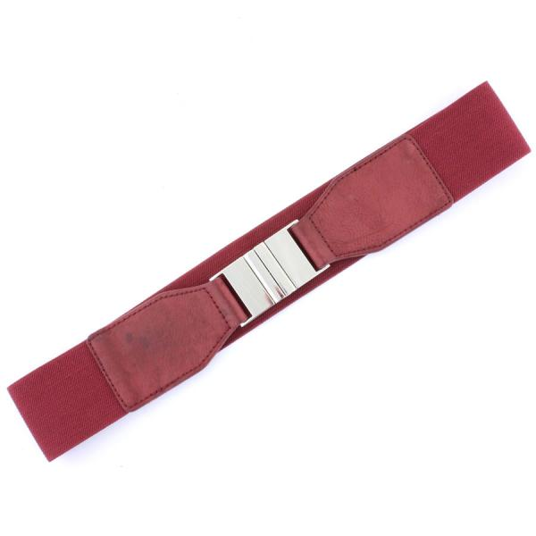 wholesale Fashion Stretch Belts Y5116 - Burgundy - ONE SIZE FITS (S-L)