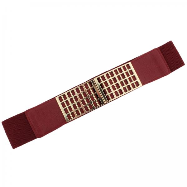 wholesale Fashion Stretch Belts Y5278 - Burgundy - ONE SIZE FITS (S-L)
