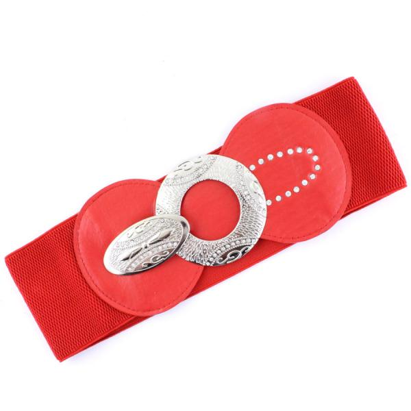 wholesale Fashion Stretch Belts 1072 - Red - ONE SIZE FITS (S-L)