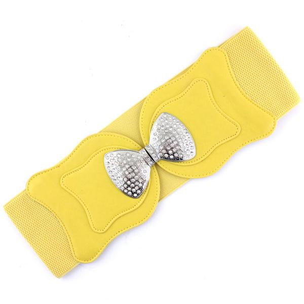 wholesale Fashion Stretch Belts 1089 - Yellow - ONE SIZE FITS (S-L)