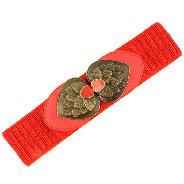 wholesale Fashion Stretch Belts 5003 - Red - ONE SIZE FITS (S-L)