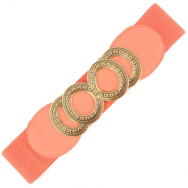 wholesale Fashion Stretch Belts A3102 - Coral - ONE SIZE FITS (S-L)