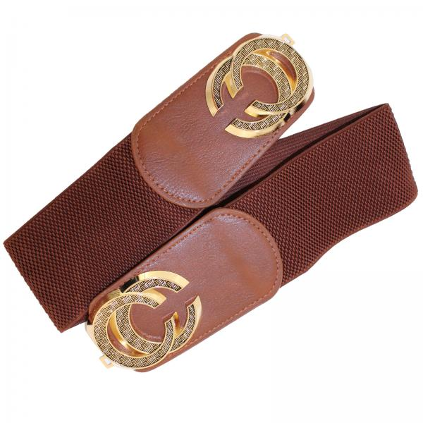 wholesale Fashion Stretch Belts A3144 - Brown - ONE SIZE FITS (S-L)