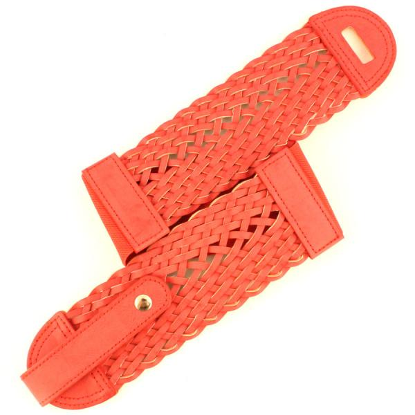 wholesale Fashion Stretch Belts J4107 - Coral - ONE SIZE FITS (S-L)
