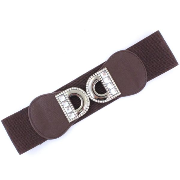 wholesale Fashion Stretch Belts LD2906 - Brown - ONE SIZE FITS (S-L)