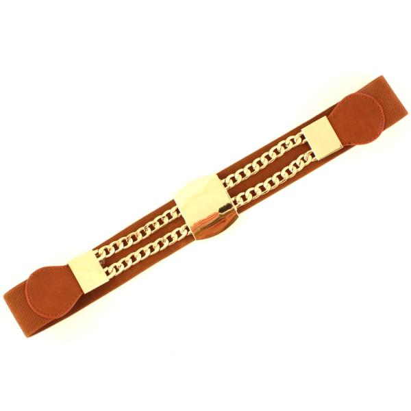 wholesale Fashion Stretch Belts S0003 - Brown - ONE SIZE FITS (S-L)