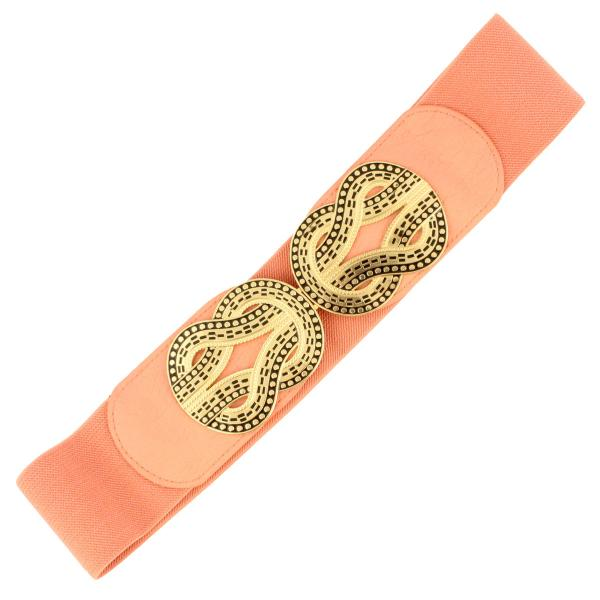 wholesale Fashion Stretch Belts S0025 - Coral - ONE SIZE FITS (S-L)