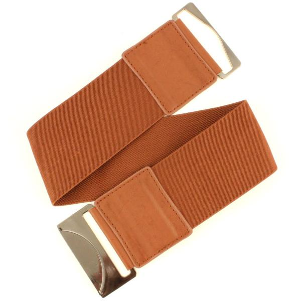 wholesale Fashion Stretch Belts W8002 - Brown - ONE SIZE FITS (S-L)