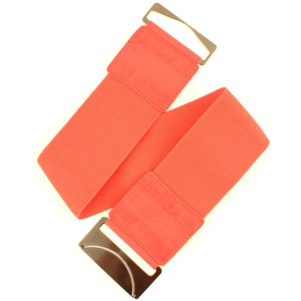 wholesale Fashion Stretch Belts W8002 - Coral - ONE SIZE FITS (S-L)