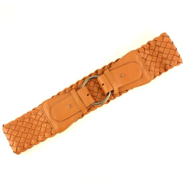wholesale Fashion Stretch Belts W8206 - Brown - ONE SIZE FITS (S-L)