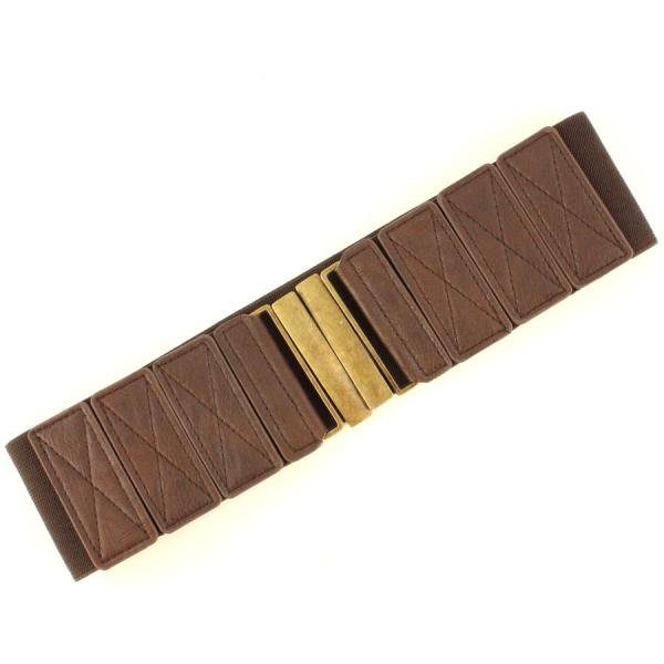 wholesale Fashion Stretch Belts W8244 - Brown - ONE SIZE FITS (S-L)